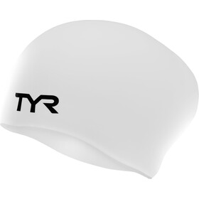 TYR Wrinkle-Free Long Hair Gorro de natación, white